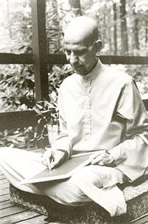 Bapuji writing on slate