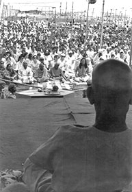 Bapuji in front of crowd